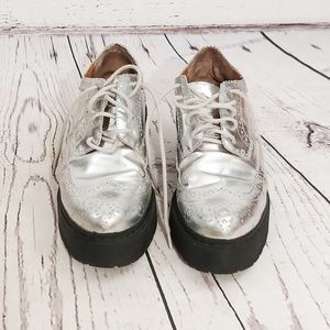 Jeffrey Campbell silver Rudeness oxfords